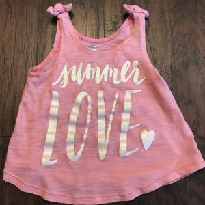Old Navy Girls 3T Pink Summer Love Knot Tank Top